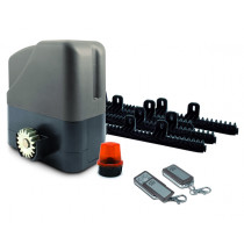 Motorisation AVIDSEN Portail Coulissant - 12V (6m x 500 kg) - Feu LED - 2 télécommandes - 4 Mètres crémaillères Nylon - OREA 500