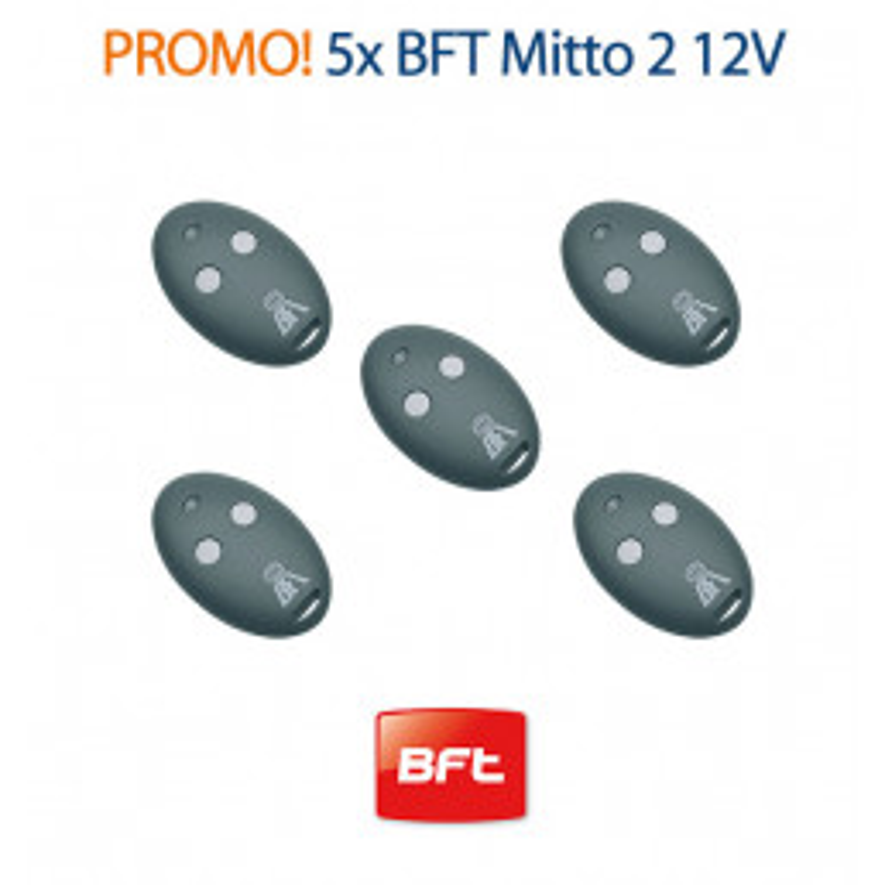 Lot de 5 Télécommandes BFT MITTO 2 12V 433MHZ